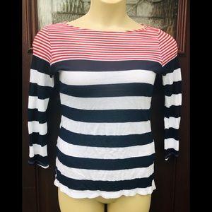 Michael Stars Red White Blue Striped Tee T-Shirt